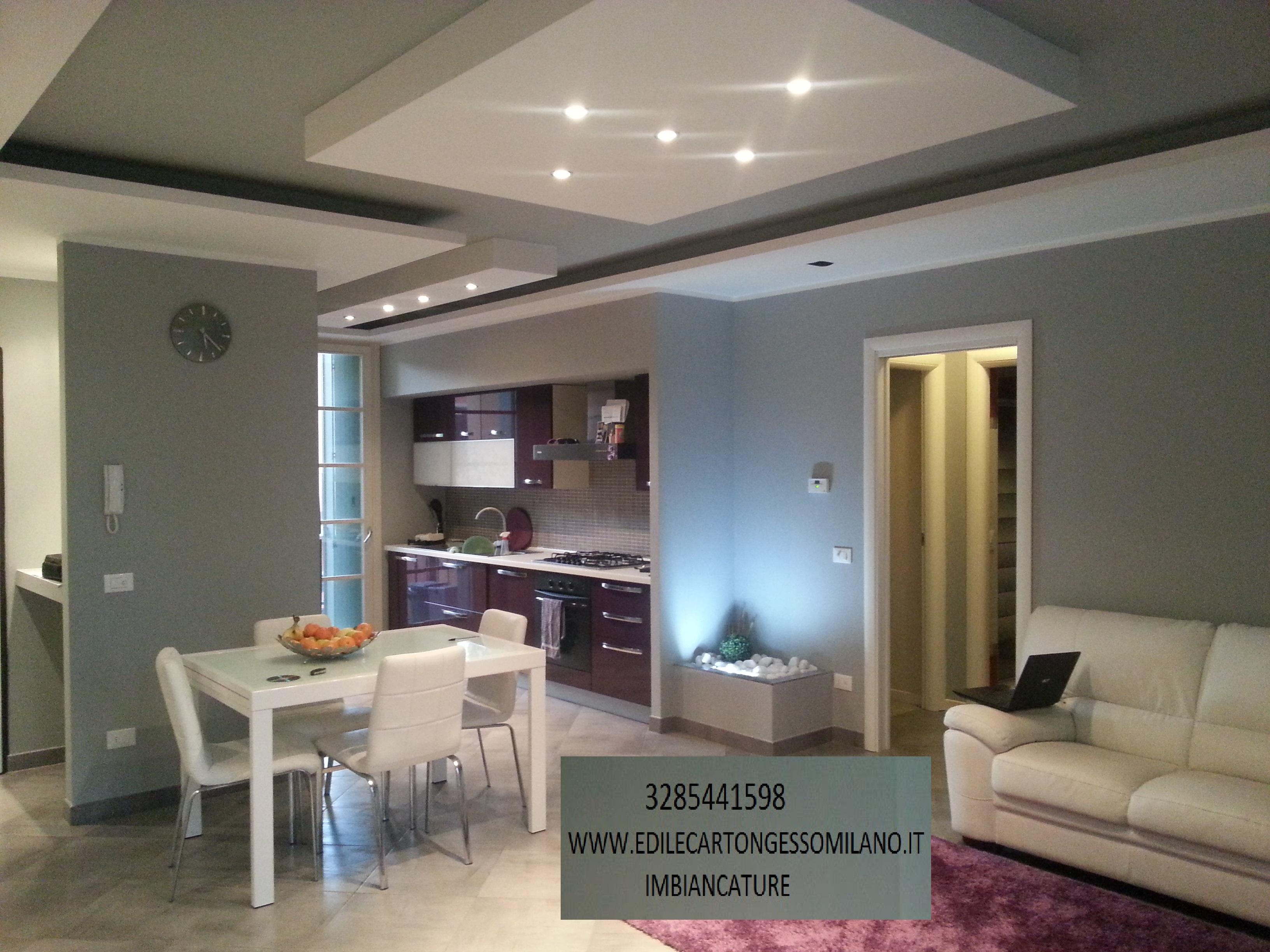 Decorazioni in cartongesso con faretti for Cucine e saloni moderni